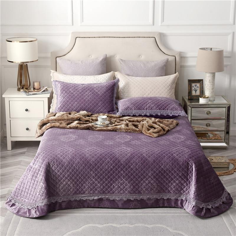 Purple Pale Mauve Green Beige High Quality Comfortable Flannel Cotton Thick Bedspread Bed Cover Bed Sheet/Linen Pillowcases 3pcsPurple Pale Mauve Green Beige High Quality Comfortable Flannel Cotton Thick Bedspread Bed Cover Bed Sheet/Linen Pillowcases 3pcs