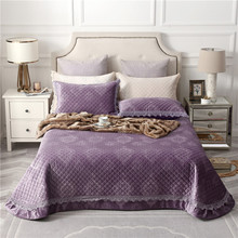 Purple Pale Mauve Green Beige High Quality Comfortable Flannel Cotton Thick Bedspread Bed Cover Sheet/Linen Pillowcases 3pcs