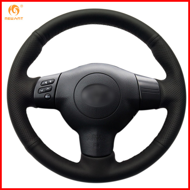 Mewant Black Artificial Leather Car Steering Wheel Cover For Toyota Corolla 2004 2006 Caldina 2002 2007 Interior Accessories