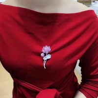 Qi Xuan_New S925 Sterling Silver Pink Lotus Brooch Women Fashion Wild Brooch Brooch Pendant Dual Use High End Exquisite