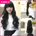 1PC Pretty  Long Wavy Wigs With  Bang  Cosplay Wig Black for Lady Sweet Girl Elegant and Send Wig Cap as Gift  LW041
