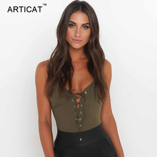 Articat Sexy Lace Up Bodysuit Women Summer Tops Spaghetti Strap V Neck Backless Rompers Womens Jumpsuit Party Bodycon Overalls