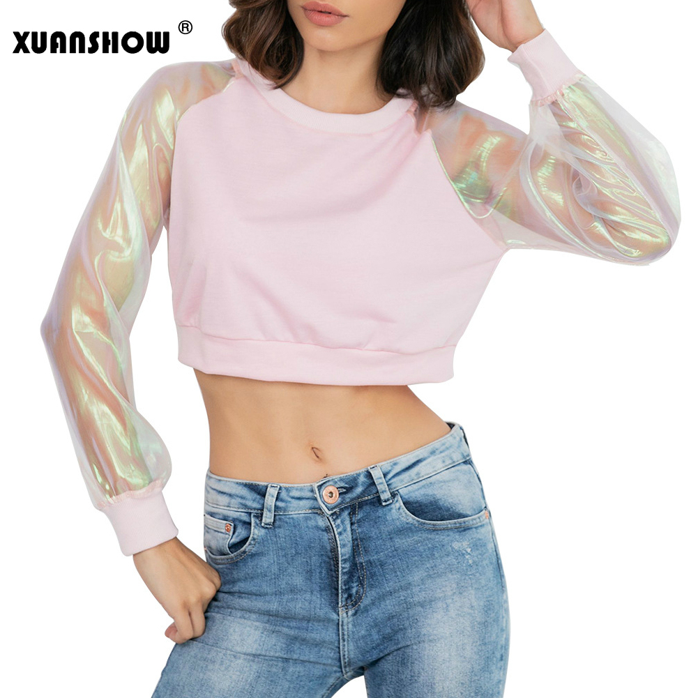 XUANSHOW New Arrival Fashion Sweatshirts For Women Patchwork Mesh Transparent Sleeve Crop Top Pullovers Sweatshirt Bluzy Damskie
