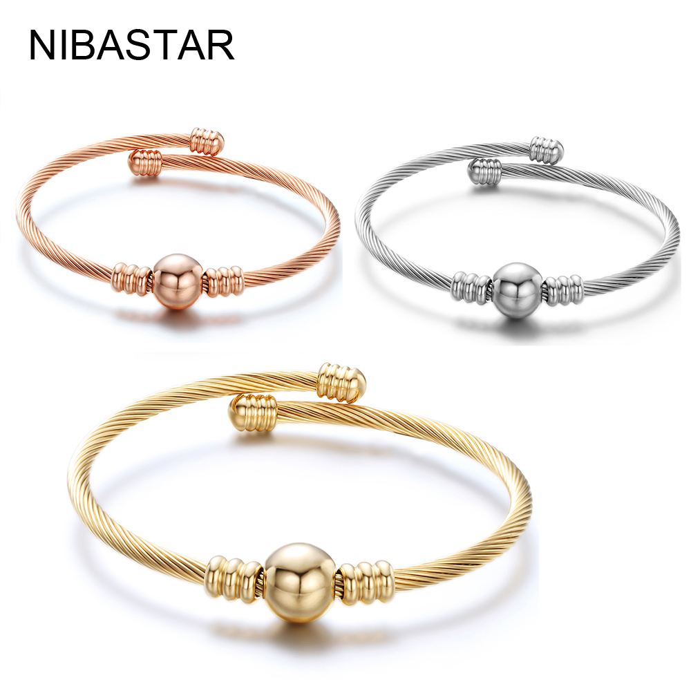 Stainless Steel Open Cable Wire Bangles Bracelets For Womens Silver Plated Famous Brand Jewelry Ladies Cuff Bangle