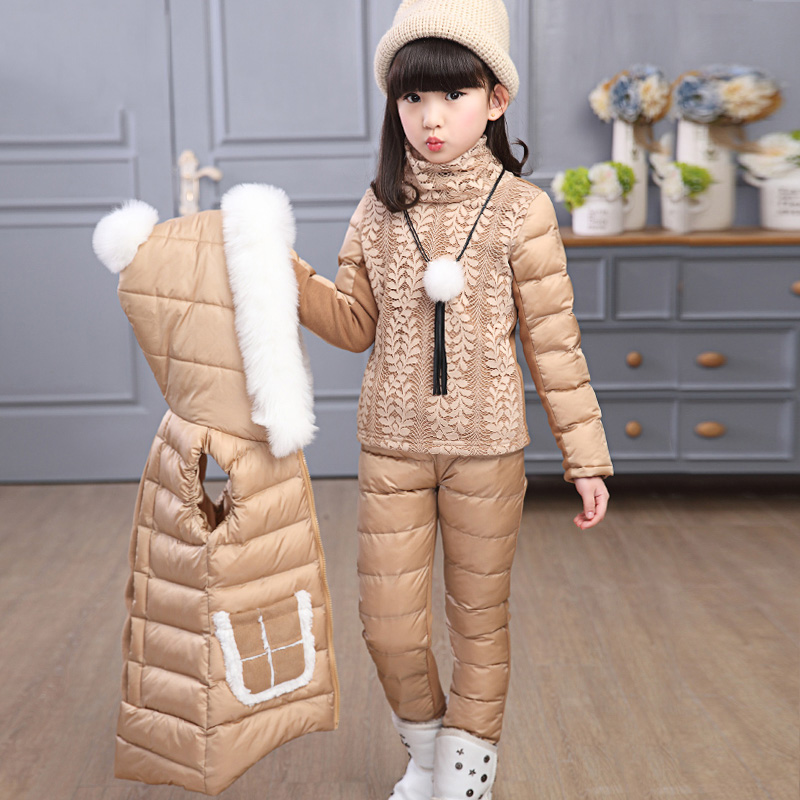 Children girl winter 3pcs set white fur collar hooded girls cotton padded parkas outerwear 2017 winter children cotton padded parkas clothes baby girls