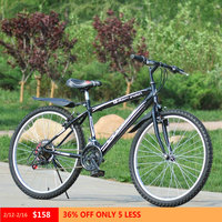 Mountain Bike Carbon Steel Bike 18 Variable Speed Bicycle 26 Wheel Double V Brake For Men