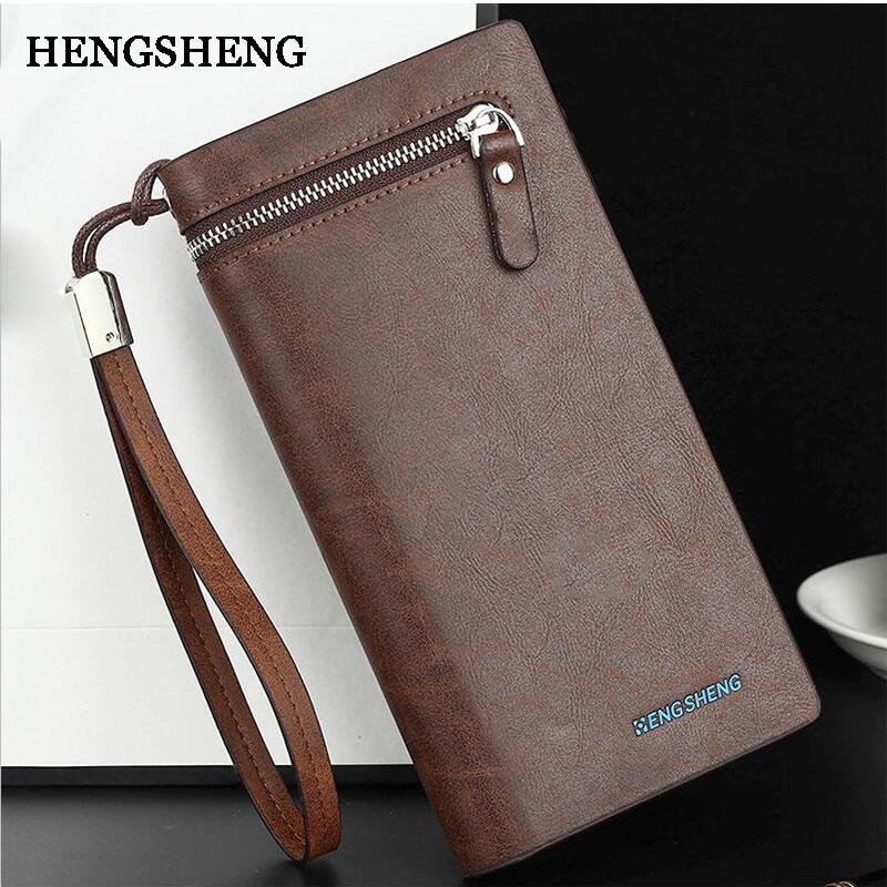 34df0722055a Hengsheng Новая мода кожаный бумажник для мужские молния мужской сумки  матовый PU Карманный держатель для телефона кошелек