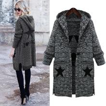 L-5XL Plus Size Sweater 2016 New Autumn Winter Elegant Cardigans Women Loose Long Knit Hooded Sweater Coat Women's Outwear
