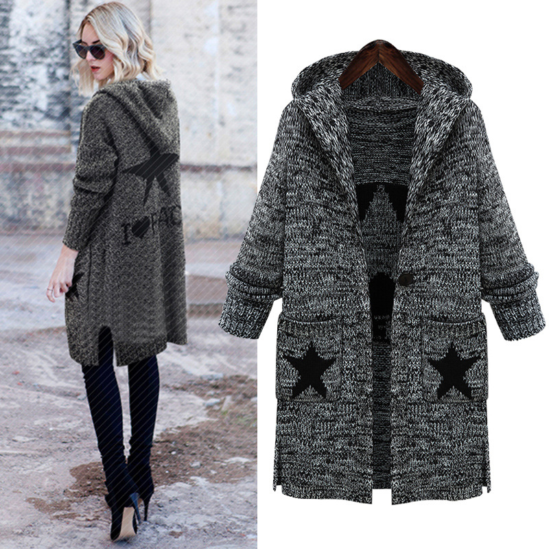 Hooded Women's Sweater Cardigan Geometric Promotion-Shop for ...