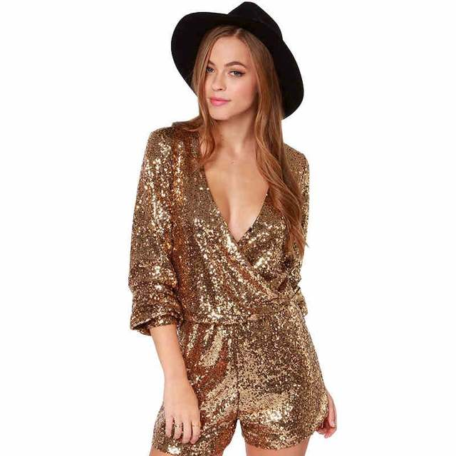 9e370538347b MUXU Sexy women sequins glitter Jumpsuit Gold Sequins V-Neck party  jumpsuits europe and the