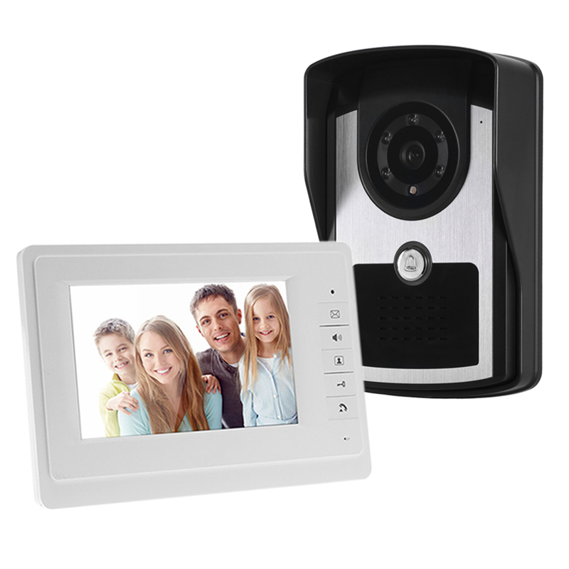 7'' TFT LCD Video Door Phone Visual Doorbell Home Video Intercom Speakerphone Intercom System Monitor Outdoor IR Doorbell Camera