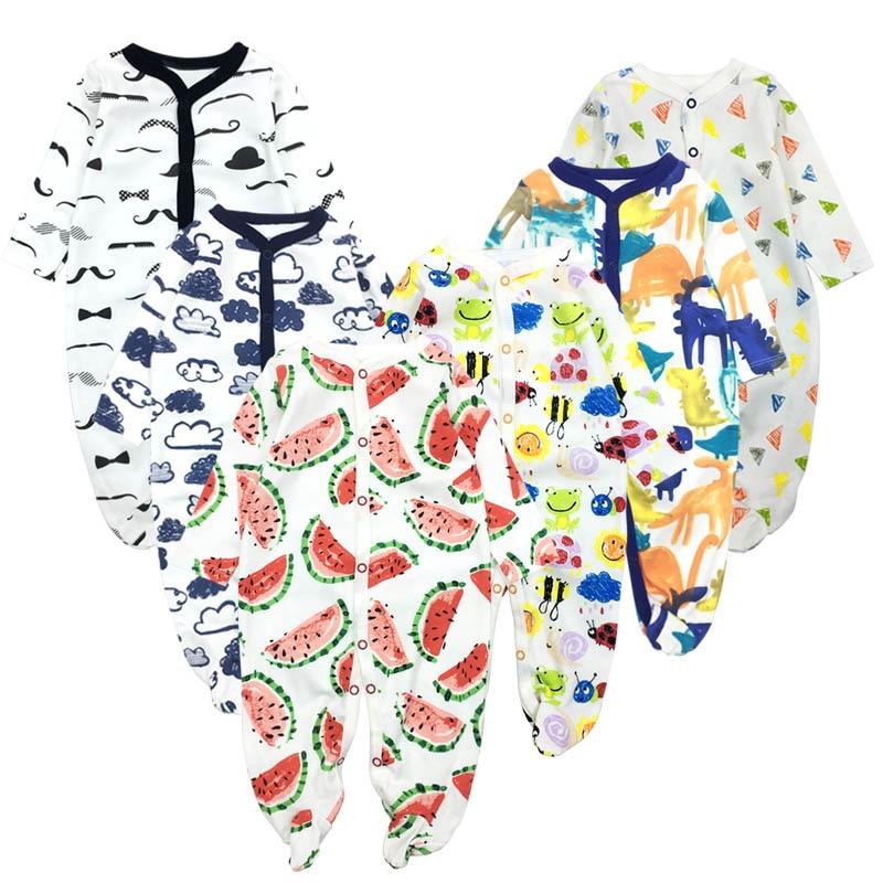 6 pçs/lote Bebê Macacão 2019 macacão de Manga Curta 100% Algodão Recém-nascidos roupas Roupas de bebe meninos meninas macacão & roupas