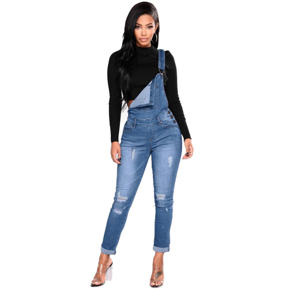 2018 New Women Denim Overalls Ripped Stretch Dungarees High Waist Long Jeans  Pencil Pants Rompers Jumpsuit 5efe90663dfe