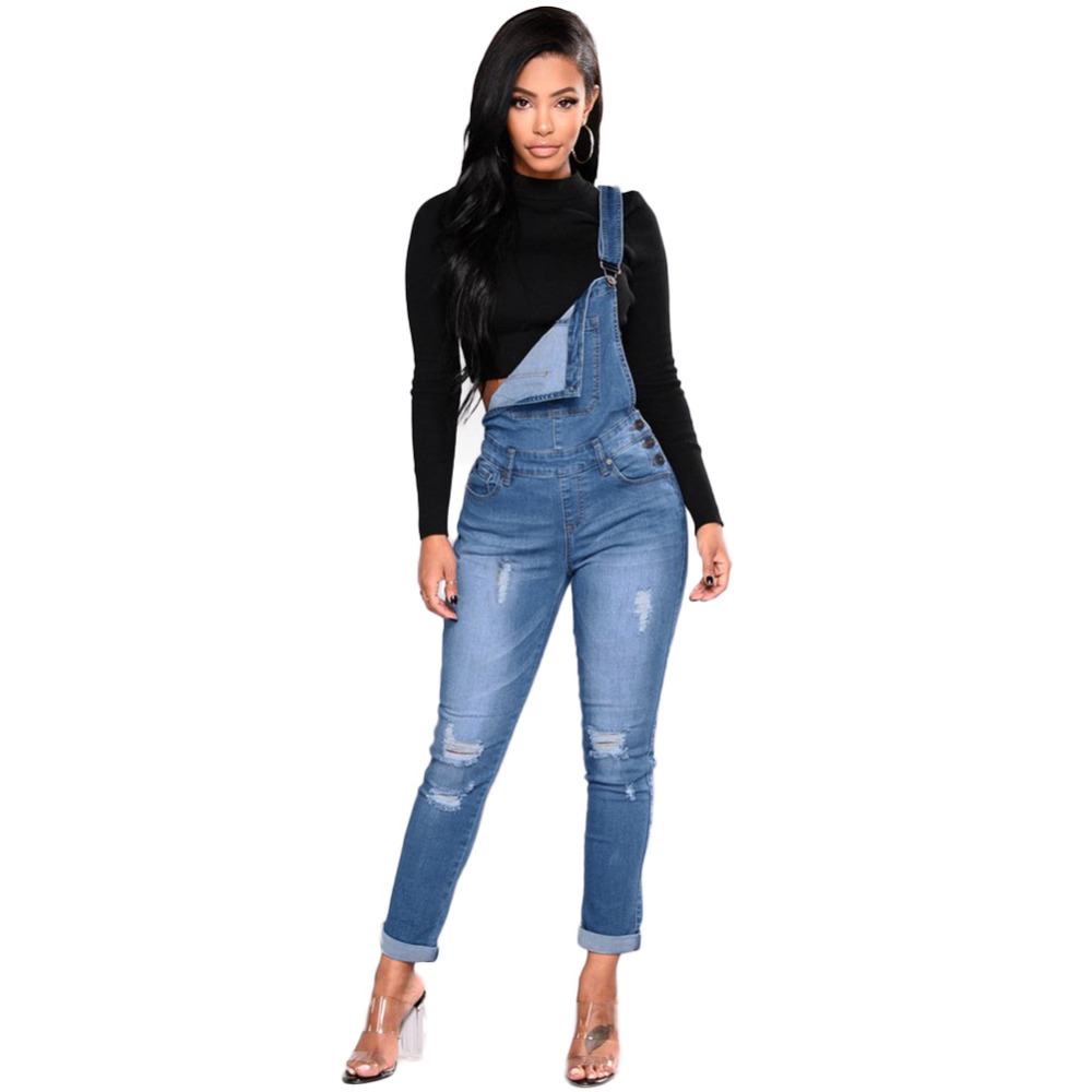 2019 New Women Denim Overalls Ripped Stretch Dungarees High Waist Long Jeans Pencil Pants Rompers   Jumpsuit   Blue Jeans   Jumpsuits