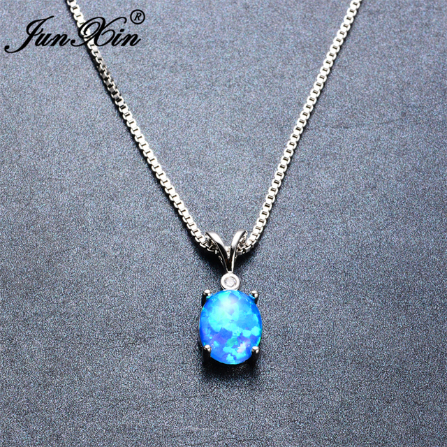 Junxin women blue opal necklace oval prong design new fashion junxin women blue opal necklace oval prong design new fashion wedding jewelry 925 sterling silver filled mozeypictures Gallery