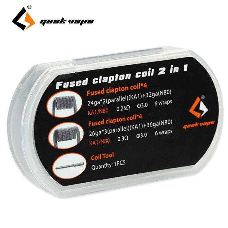 8pcs Original GeekVape Fused Clapton Coil 2 In 1 Kantha KA1 wrapped in Nicrome RDA RTA RDTA RBA Tank Atomizer DIY coil