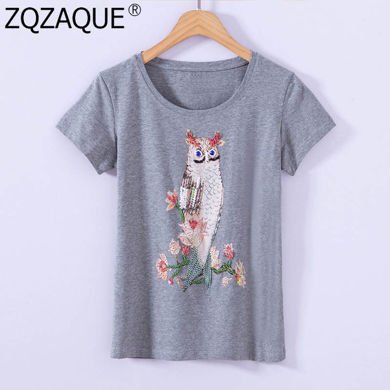 2019 Summer Autumn Knitted T Shirts Girls Tops Beading Fish Owl Pattern Printing O-Neck T-Shirt For Women's Fashion Bottom Top