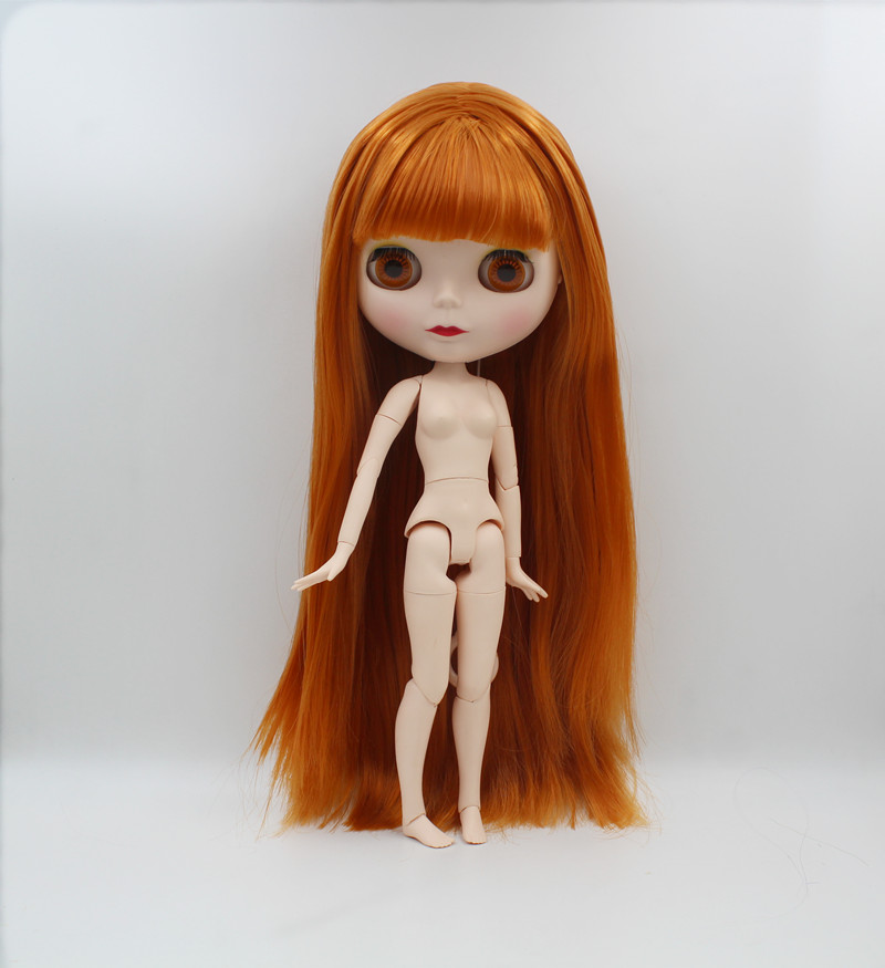 купить Blygirl,Blyth doll,Dark orange bangs straight hair, 1/6 nude doll, 19 joints, new face shell doll, can make up for her по цене 3399.88 рублей