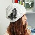 Promoción belleza de la marca de diseño de primavera verano otoño invierno skullies beanie cap hat para mujer mujeres niña de lentejuelas en forma de mariposa