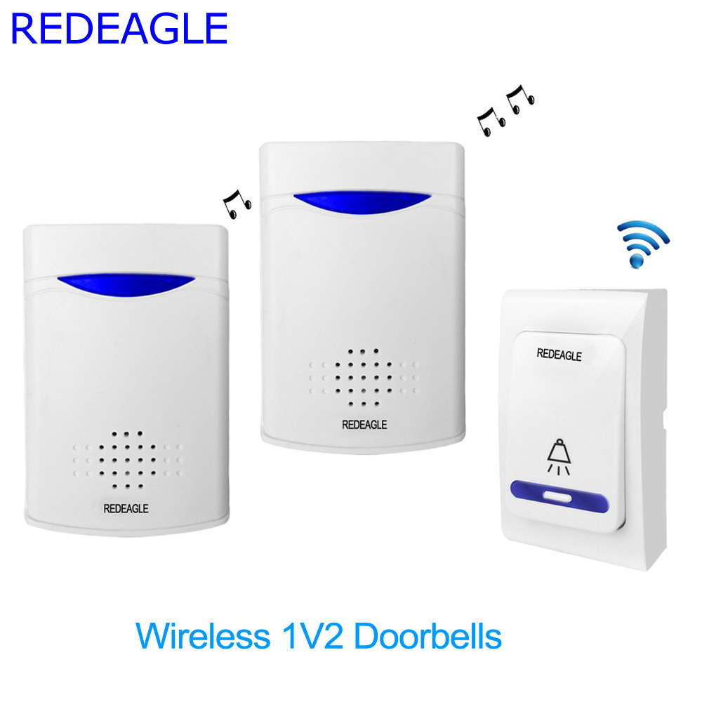 REDEAGLE Home Wireless Doorbell 38 Tunes Chimes Digital Remote Control Door Bell LED Receiver V006B2 mylb digital wireless doorbell door bell wireless doorbell 32 tunes remote control durable