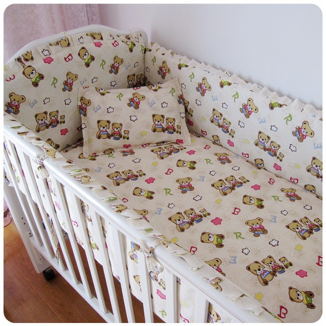 Promotion! 6PCS Bear Baby Bedding Set Cradle Kits Cot Bedding Set Cotton Fabric Crib Set  (bumpers+sheet+pillow cover) promotion 6 7pcs cot bedding set baby bedding set bumpers fitted sheet baby blanket 120 60 120 70cm