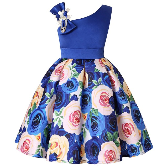 Kids Flower Stripe Dresses for Girls Christmas Children Clothing Dress Princess Brithday Wedding Party Baby Girl Dress With Bow
