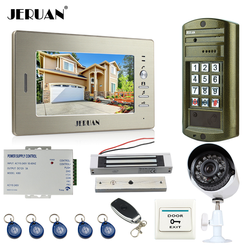 JERUAN 7 inch LCD Video Door Phone Intercom System kit Metal panel waterproof password keypad HD Mini Camera +Security Camera jeruan home 7 inch video door phone intercom system kit new metal waterproof access password keypad hd mini camera 2 monitor