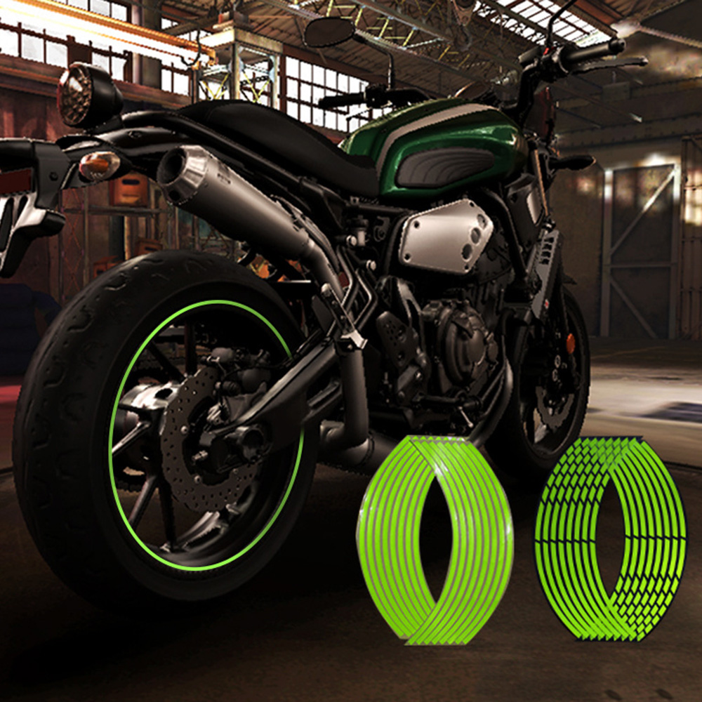 "Image 2 - 10"" 12"" 14"" 16"" 18"" Motorcycle Sticker Pegatinas Moto Strips Reflective Wheel Rim Adesivi Moto For Honda Yamaha Kawasaki Suzuki-in Decals & Stickers from Automobiles & Motorcycles"