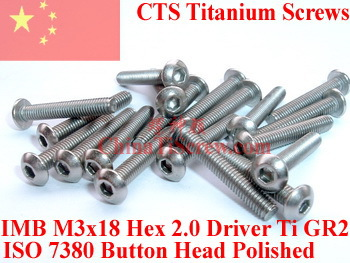 Titanium screw M3X18 ISO 7380 Button Head  Hex 2.0 Driver Ti GR2 Polished 50 pcs 50pcs lot iso7380 m3 x 6 pure titanium button head hex socket screw