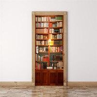 Bookcase Home Door Decoration Wall Decals Vinyl Wall Door Stickers For Home Decor