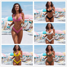 Sex Women Bikini Set Swimwear Push Up Padded V Bottoms Brazilian Summer Beachwear Halter Swimsuit White Pink Yellow