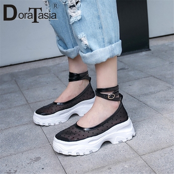 DORATASIA Brand New women's Patent Genuine Leather Mesh Ladies Polka Dot Shoes Woman Casual Party Summer Autumn Flats 2019