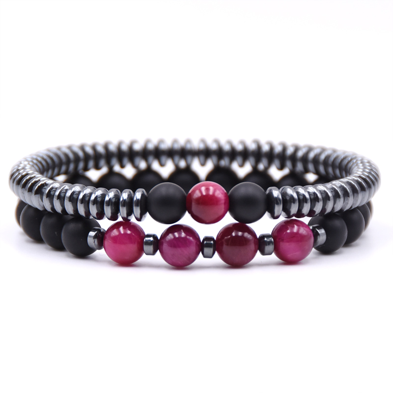 KANGKANG 2 pieces set 6mm Hematite circle slice 8mm Matte Black bead Stone Bracelets For Men Women charming Jewelry in Strand Bracelets from Jewelry Accessories