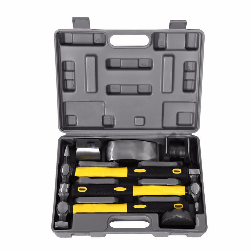 Standard Bumping Hammer,Hammers Dolly Tool Kit,7pcs Car Auto Body Panel Repair Tool Kit Handles Beating Hammers Heel Dolly