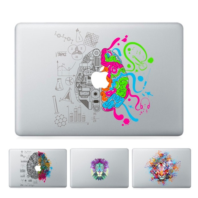 Ycsticker laptop vinyl partial decal diy personality sticker leftright brain print skin for macbook air