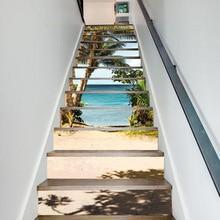 Praia do mar coqueiro seaside cena moderna casa decalque adesivos de parede crianças decoração do quarto dos miúdos adesivos escadas decoração