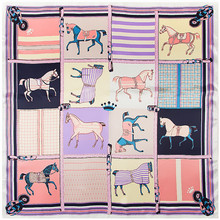 Horse Plaid Scarves For Women Fashion Silk Scarf Female 90cm Square Shawl Bandana Head Hijab Ladies