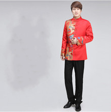 Chinese Men's Clothing Traditional Groom Wedding Chinese Ancient Costume Red Tunic Tang Suit Gown Dress Hanfu Tops