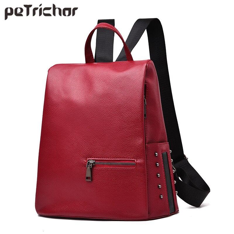 Petrichor Новый конструктор Большой Ёмкость Для женщин рюкзак заклепки грил школьный рюкзак из искусственной кожи женский кошелек Mochila сумки на... ...