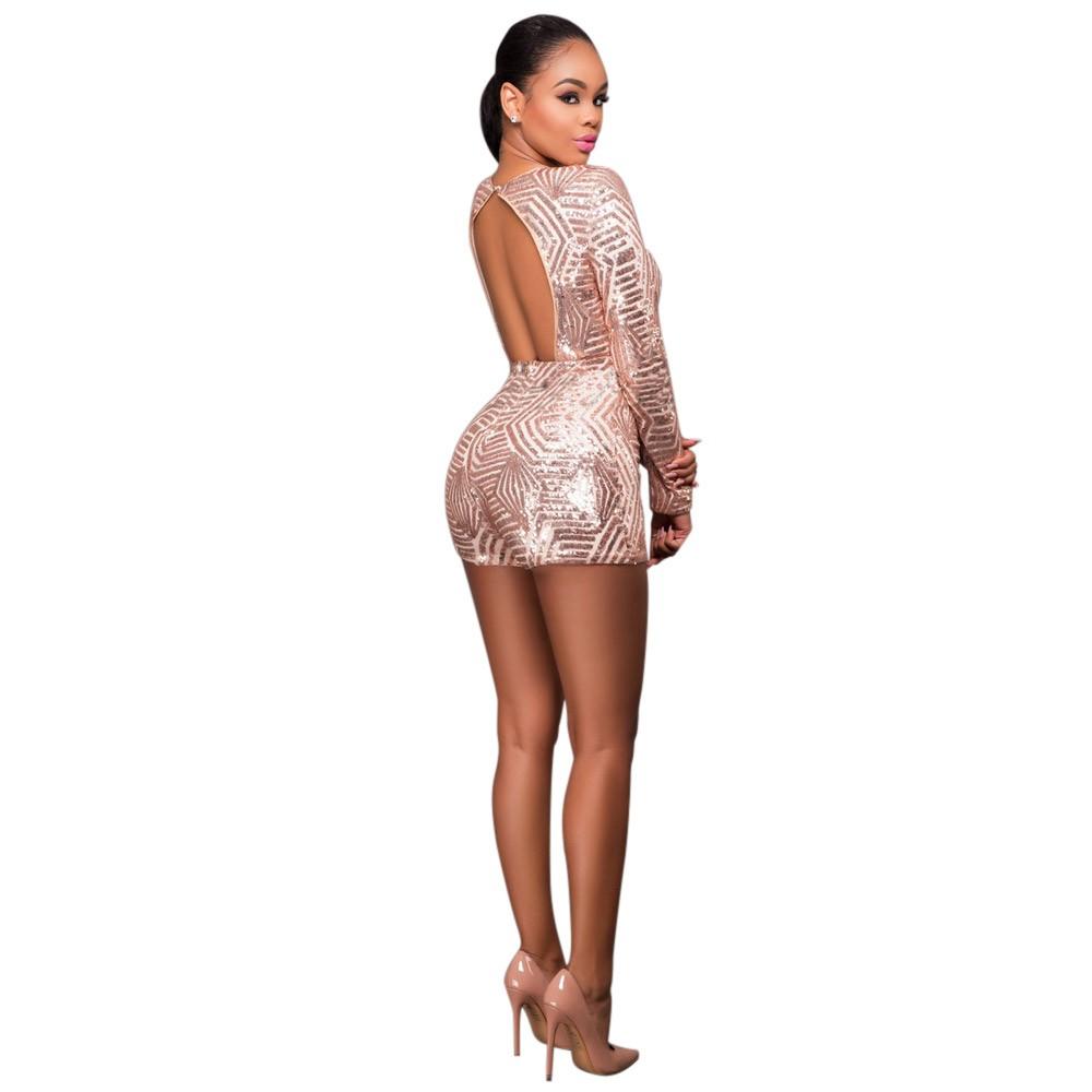 ea7a6de5f209a1 ... Gold Pailletten Jumpsuit Sexy V-ausschnitt Frauen Hohe Taille Strampler  Damen Langarm Overall XL. fotos: 19167 19167-1 19167-2 ...