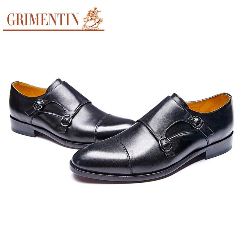 7f924d7af GRIMENTIN marca personalizado dos homens se vestem sapatos de couro genuíno  dupla cinta monge Italiano homens sapatos feitos à mão em Sapato social de  ...