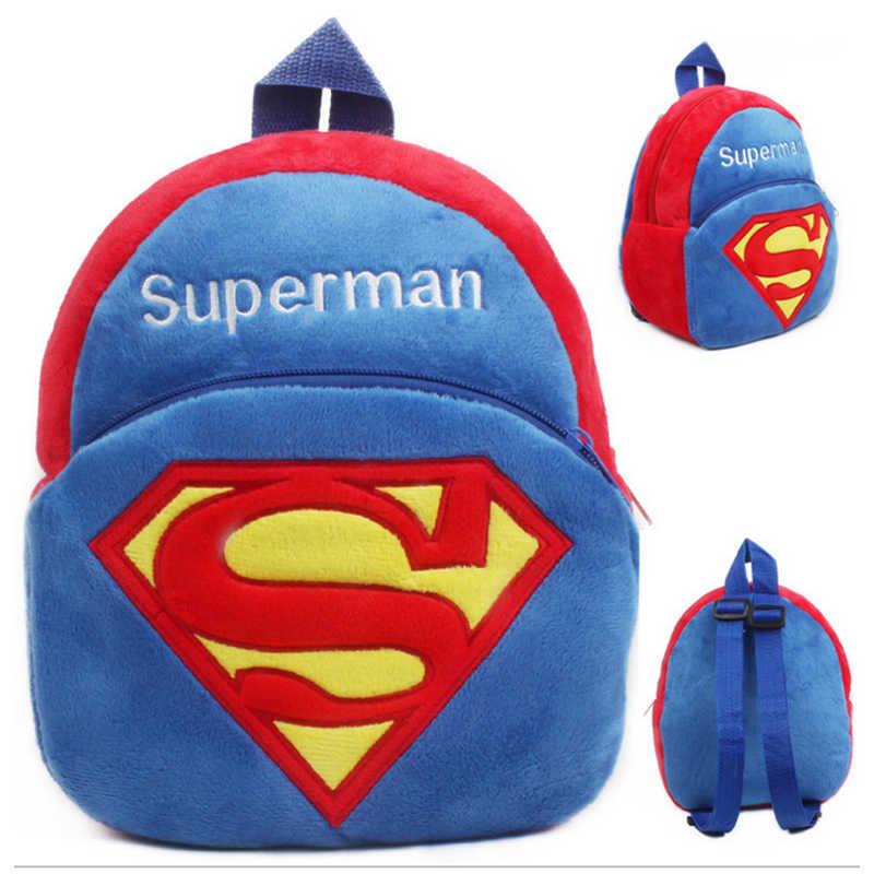 Superman Plush Backpacks Cartoon Kids School Bags Toys Cute Animal Lovely Kindergarten Children Storage Box Doll