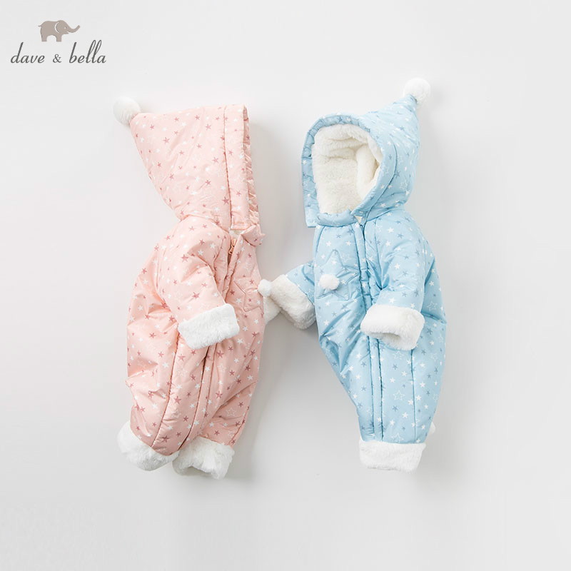DBM8999 dave bella winter newborn unisex fashion stars print romper infant onesies children lovely romper baby