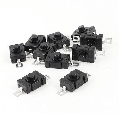10 x Push Button 2 Pins Latching Action Tact Tactile Switch AC 250V 1.5A promotion 44 pcs 6x3 5x5mm 2 pins momentary dip tactile tact push button switch
