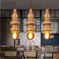 American Country Wooden Gourd Modern Edison Pendant Lights Fixtures For Bar Dining Room Hanging Lamp Indoor Suspension Luminaire