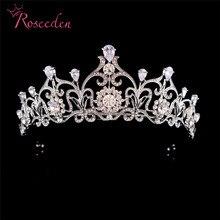 Baroque Stunning Rhinestone Cubic Zircon Wedding Tiara Rhodium CZ Bridal Queen Princess Pageant Party Crown Bridesmaids RE3060 slbridal vintage prong setting clear cubic zircon wedding tiara cz bridal queen princess pageant royal party crown women jewelry