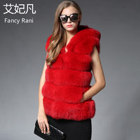 Red Real Fox Fur Coat Hooded Jacket for Women 2018 Winter Warm Sleeveless Outwear Coat 70cm Genuine Thick Fox Fur Vest with Hood