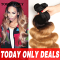 10A Grade Brazilian Body Wave Virgin Hair Ombre Blonde Brazilian Hair 1b/27 Wet and Wavy Virgin Brazilian Hair Weave Bundles