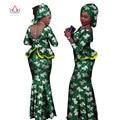 BRW Riche Bazin Africano Del Cordón Falda Set de 2 Unidades de Estilo Africano ropa para Mujeres Imprimir Ruffles Crop Sexy Top y Falda Conjuntos WY1057