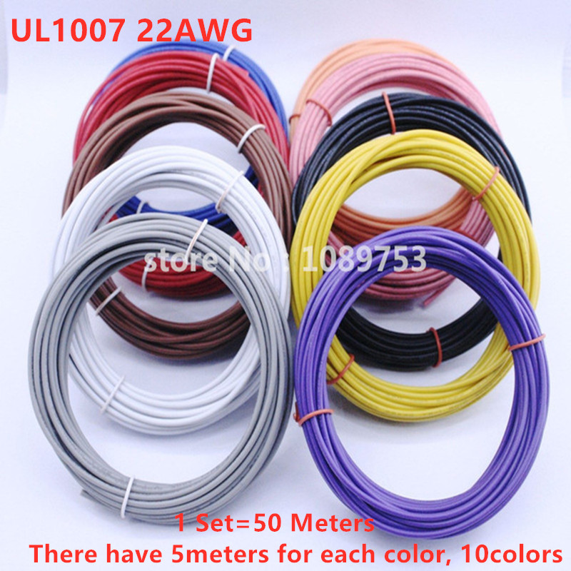 1pin 50M Flexible Stranded UL <font><b>Wire</b></font> 22 Gauge <font><b>AWG</b></font> 10 Colors Kit PVC <font><b>Wires</b></font> Electric cable,LED cable,DIY image